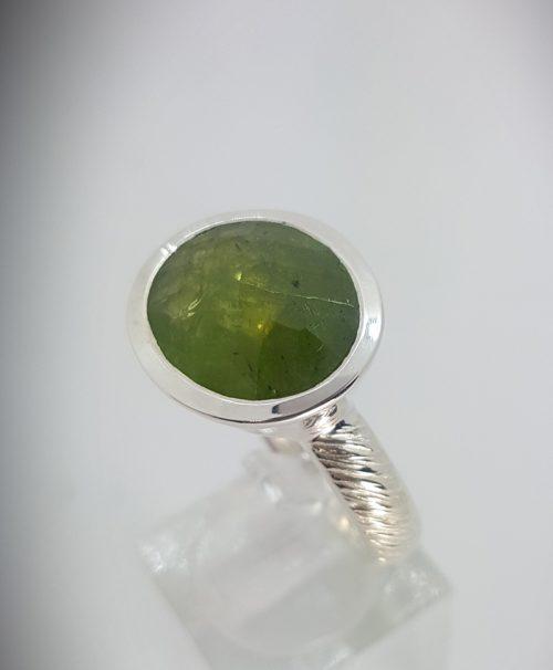 Anello Fatto a mano Argento 925 e Pietra Ovale colore verde- modello Rosmarino - Dettaglio 1