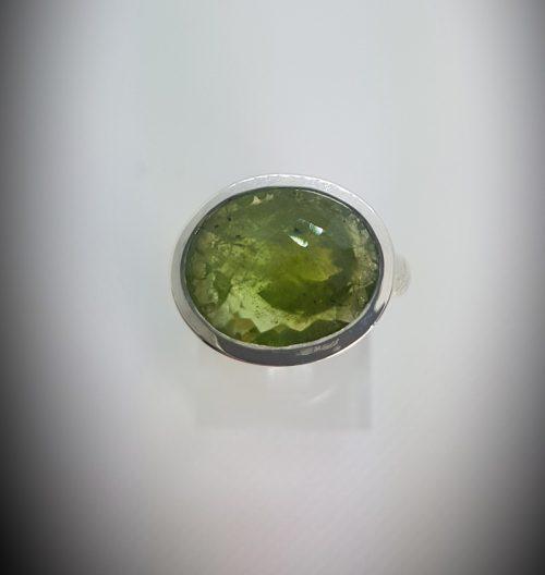 Anello Fatto a mano Argento 925 e Pietra Ovale colore verde- modello Rosmarino - Dettaglio 2