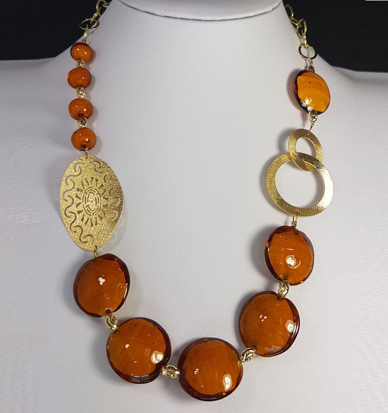 collana fatta mano con argento 925 color oro pietre dure di colore arancione