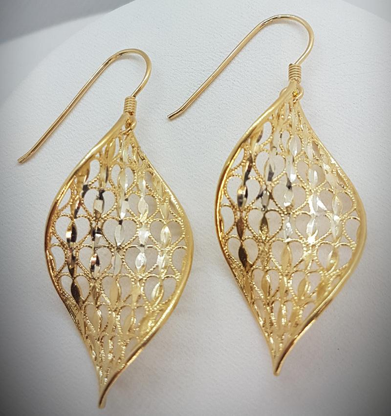 Orecchini eliche dorate argento 925