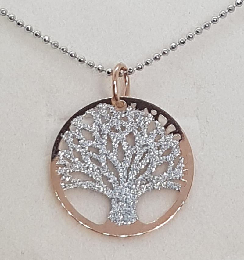 Pendente albero della vita rosa