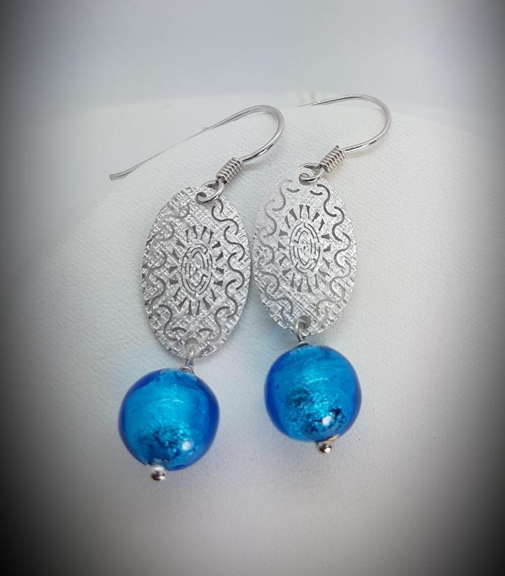 Oval Sun Earrings with Murano Glass