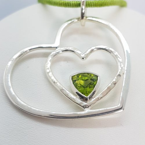 Heart Pendant with peridot