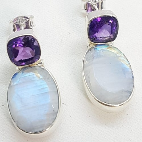 Sterling Silver Earrings with Amethyst and Moonstone