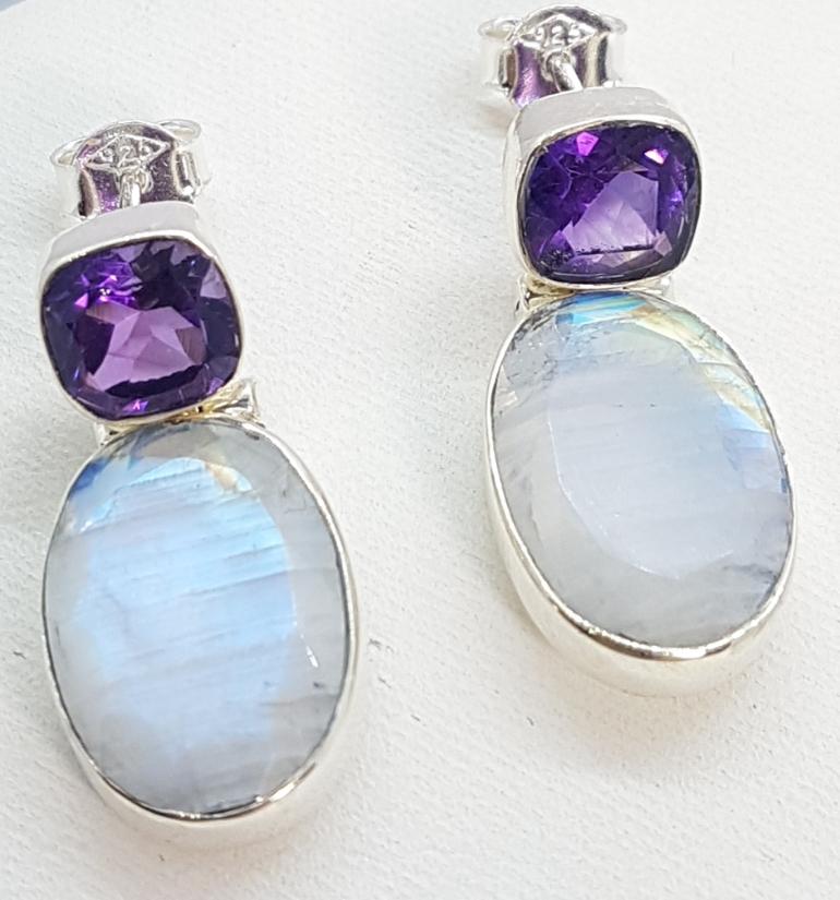 Orecchini argento pietra di luna e ametista