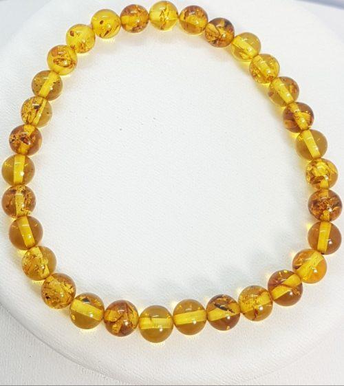 Bracciale un ambra naturale rotonda