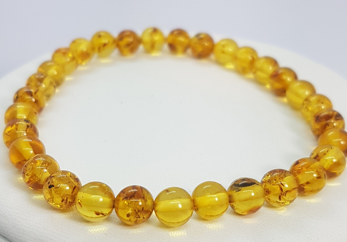bracciale in ambra naturale rotonda