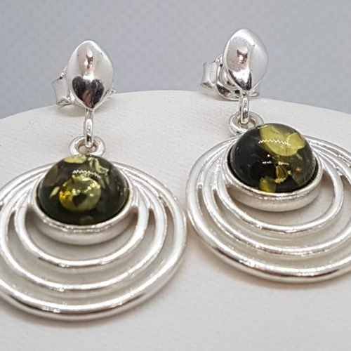 Earrings with Green Amber