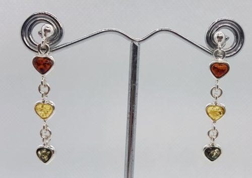 orecchini cuori d'ambra