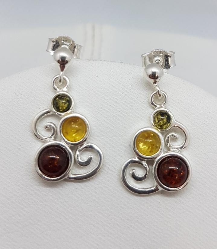 orecchini in ambra e argento