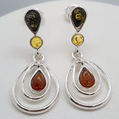 Sterling Silver Earrings with Three colour Natural Amber