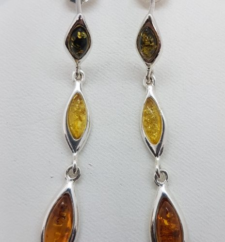 Earrings with three colour Natural Amber