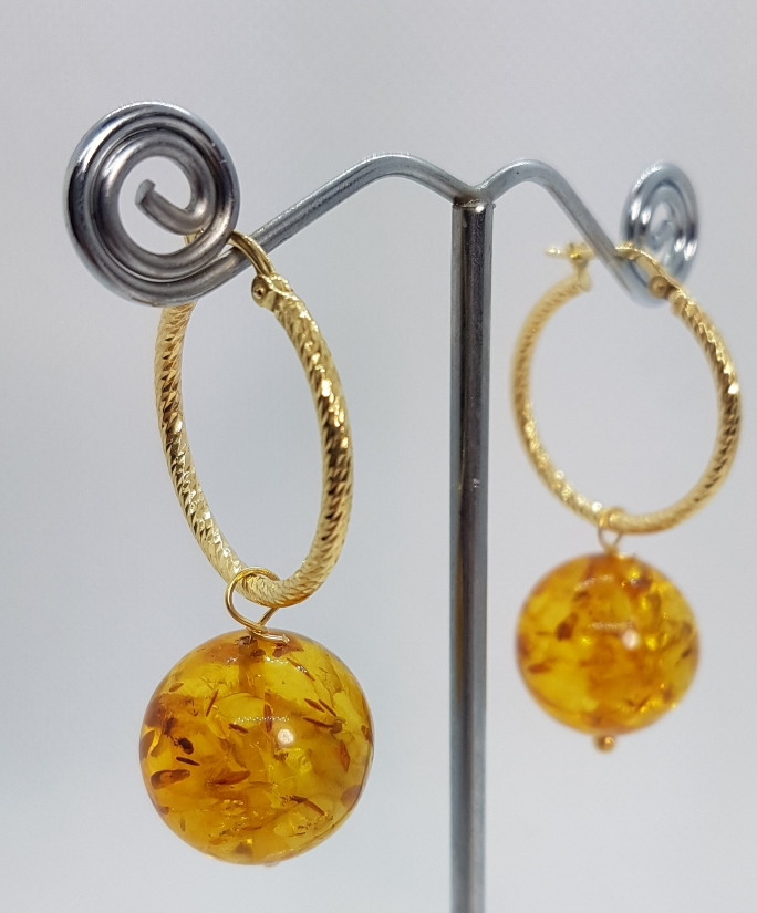 Gold plated Sterling Silver Earrings with Natural Amber