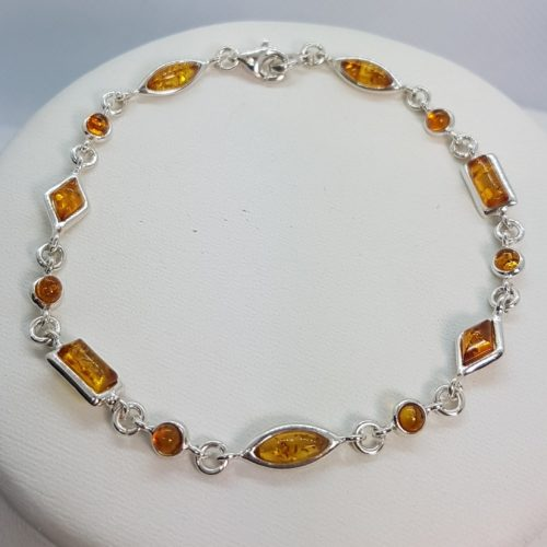 Sterling Silver Bracelet with honey Amber