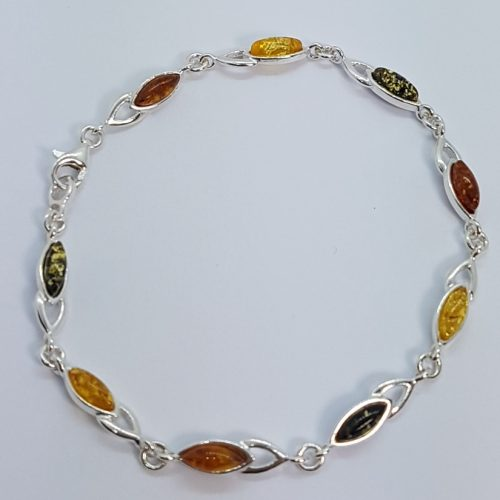 Sterling Silver Bracelet with multicolour Amber