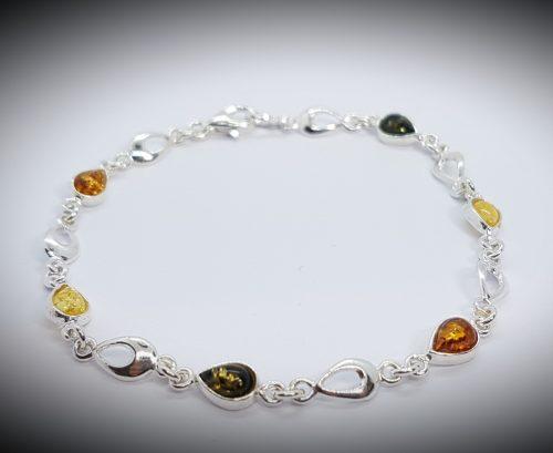 bracciale in ambra e argento