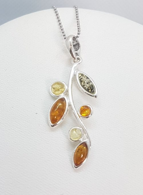 Sterling Silver Pendant with natural multicolour Amber