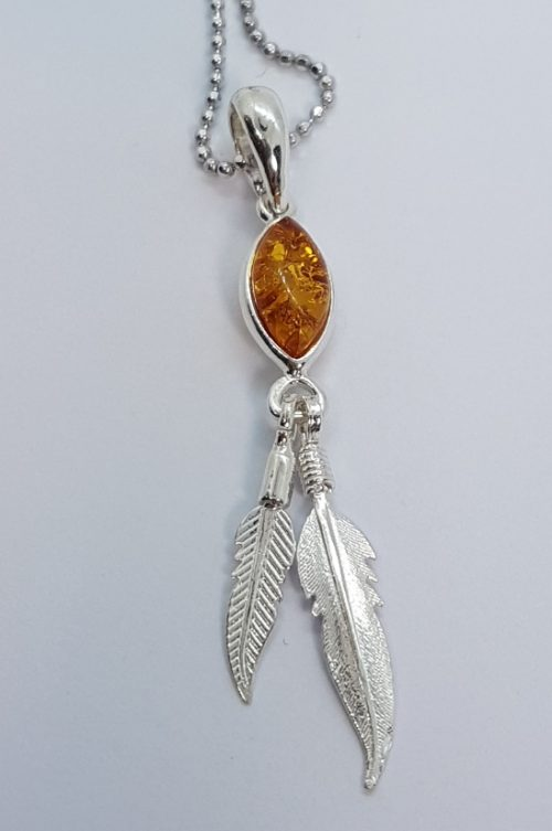 amber pendant and sterling silver