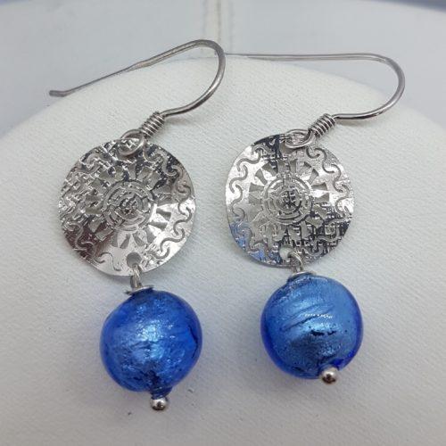 orecchini in argento e murano