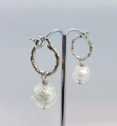 Rhodium Sterling Silver Earrings with Murano Glass