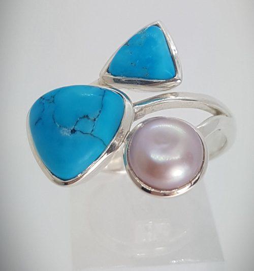 Anello turchese e perla