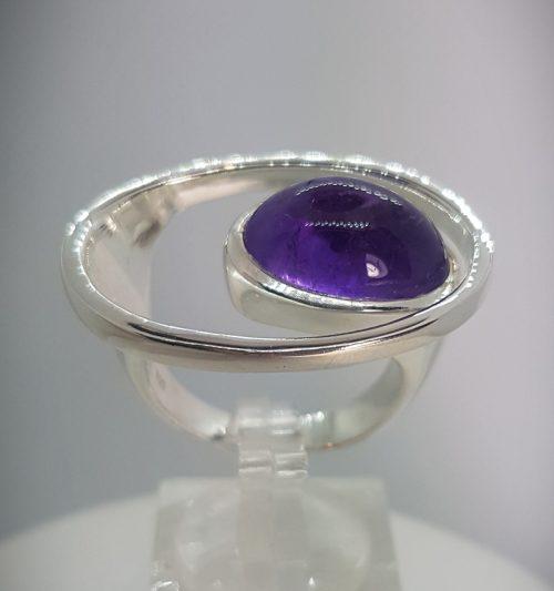 ametista e argento anello