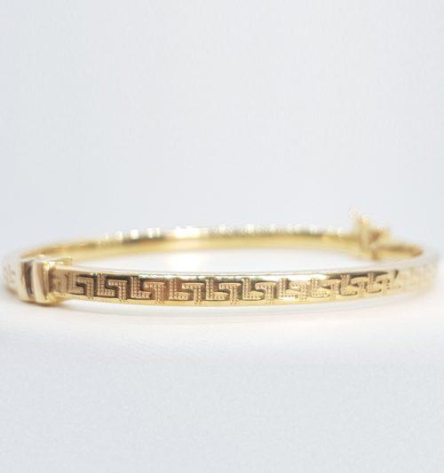Bracciale rigido in Argento dorato 925 con decorazioni a Greca