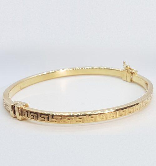 Bracciale rigido ovale in Argento dorato 925 decorato a Greca