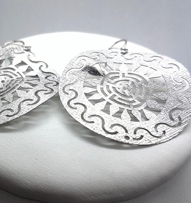 Orecchini fatti a mano - Pendenti in argento 925 - Sole Argentato