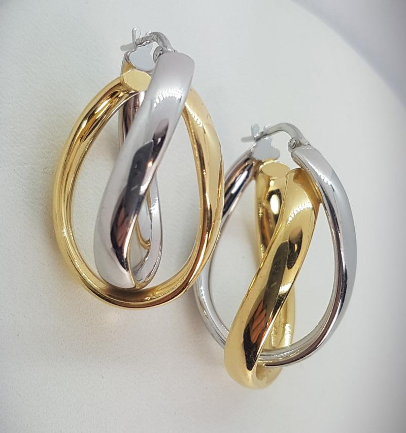 Orecchini argento 925 a cerchi doppi rodiato e dorato