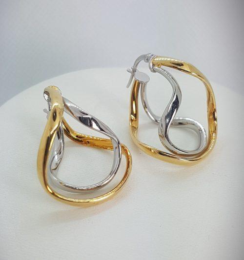 """Orecchini in argento 925 """"Cerchi doppi"""" bicolore rodiato e dorato"""