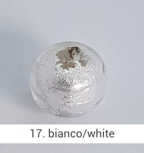 Perlina in vetro di Murano di colore Bianco gioielli fatti a mano - Gioieselli, Siena