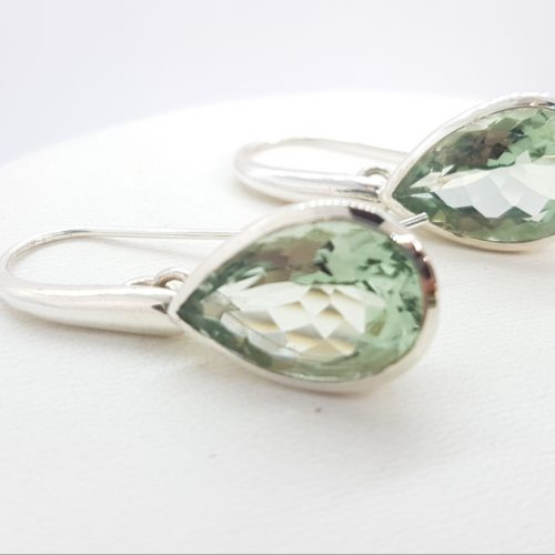 Sterling Silver Earrings with Prasiolite