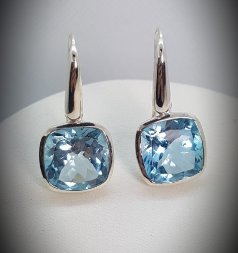 Sterling Silver earrings handmade with Topaz