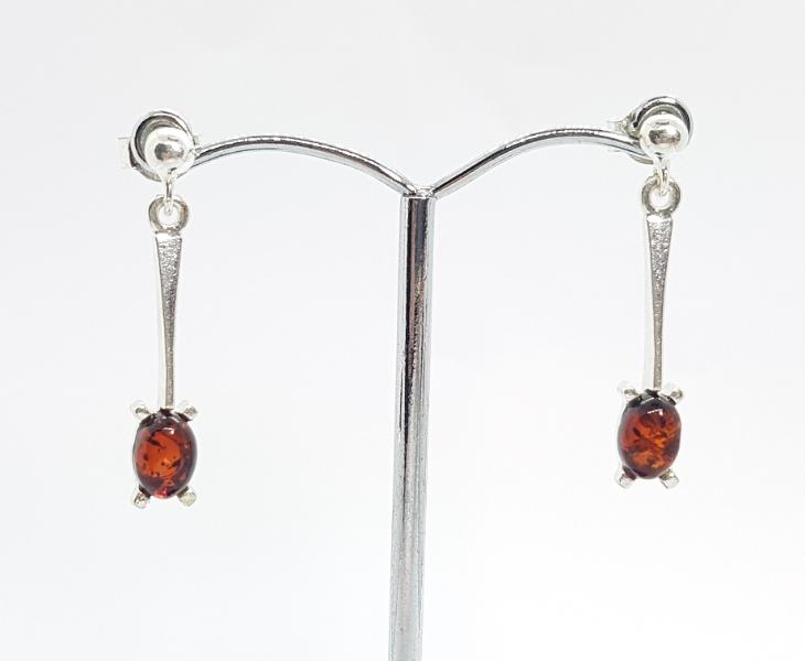 Ambra e argento orecchini