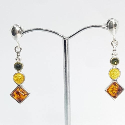 Earrings with multicolour Amber