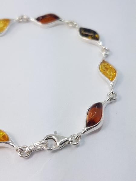 Bracciale ambra multicolor e argento Siena