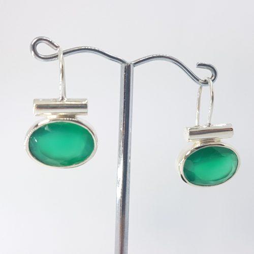 Orecchini in Argento e Agata verde fatti a mano