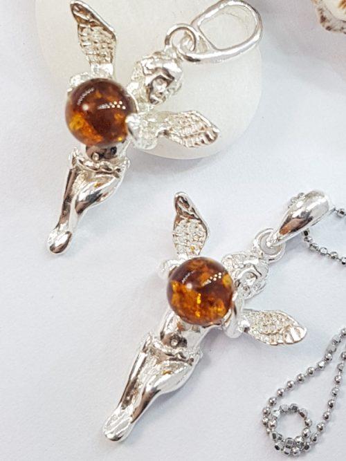 Angelo d'ambra e argento