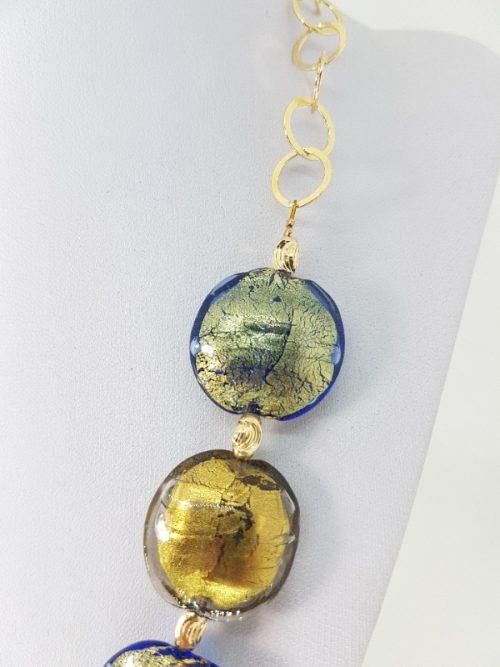 Collana con Vetro di Murano e Argento fatta a mano