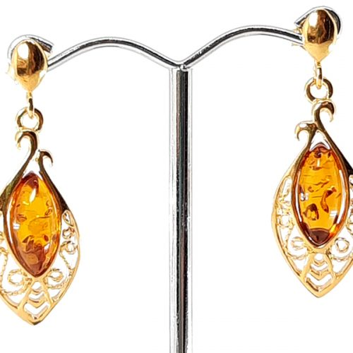 Amber earrings and silver