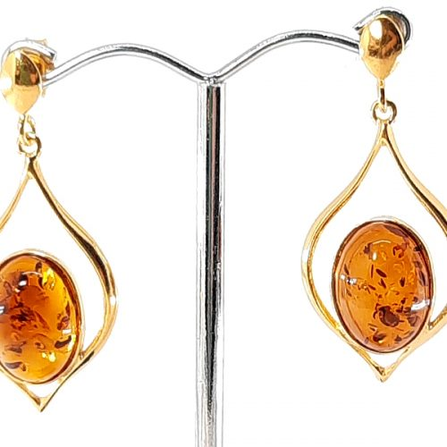 Amber earrings with Silver