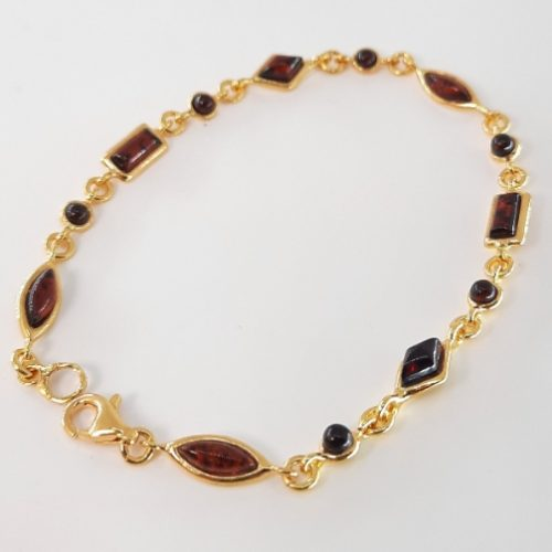 Bracelet with amber and silver
