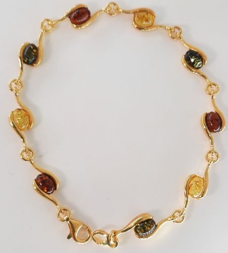 Amber bracelet and silver gold plated