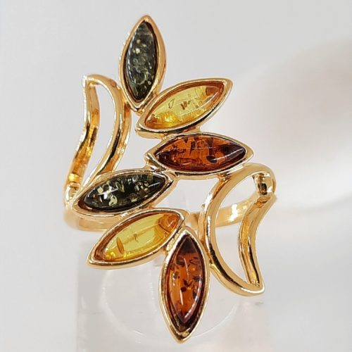 Multicolour amber ring and silver