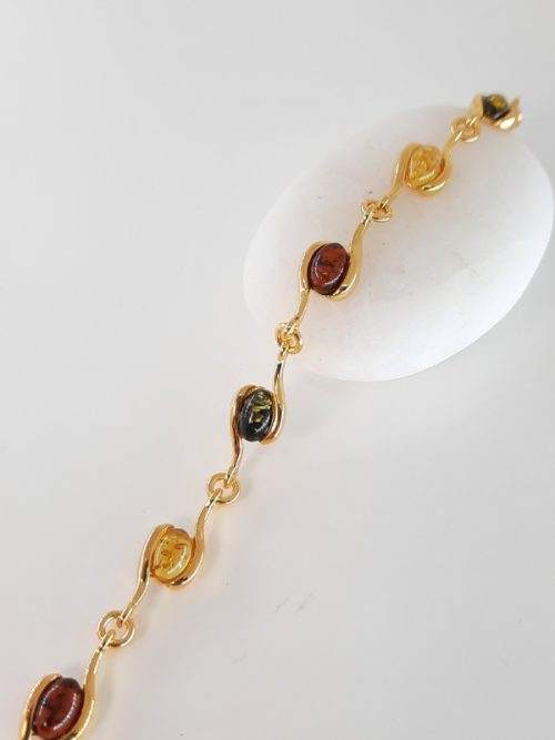 Multicolour amber bracelet and silver