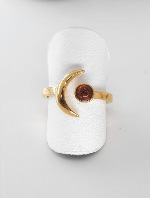 Amber ring and silver